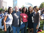 Psychology students and faculty attend a rally for President Barack Obama