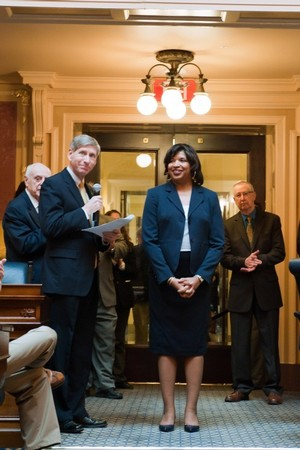 Dr. Zina McGee's SCHEV Outstanding Faculty Award is announced at the State Capitol to the Virginia General Assembly.