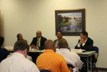 Panelist from left to right: Ms. Sandra Dixon- SKANSKA, Mr. Mark Cunningham-                              Gilbane Building, Ms. Sharon Rhinehart-WM Jordan, Mr. John Andres-Armada Hoffler