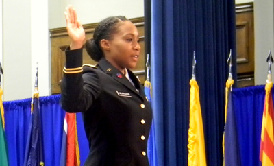 Cadet Jada Nicole Salahuddin takes the 'Oath of Office' and is appointed as Second Lieutenant in the United States Army.