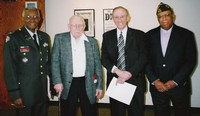 L-R: Colonel John Mitchell, Ohio Military Reserves, Judge Robert McBride, Judge Walter Rice and Bennie McRae, Trotwood Memorial Post 4270 - Veterans of Foreign Wars