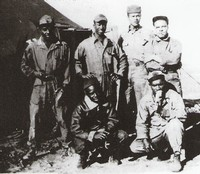 Tent Mates - 301st Fighter Squadron, Ramitelli, Termoli, Italy - 1944 - Standing L-R: Priestly, Peek, Sheppard and Pettiferde - Kneeling: Davis and Mathews