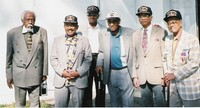 L-R: Milton Graham, Oxnard, California, 69th  Infantry Division; Ernest Smith, Springfield Gardens, New York, 12th Armored Division; Lawrence Boris, Mt. Vernon, New York, 99th Infantry Division; James Strawder, Washington, D.C., 99th Infantry Division; Oscar Osborne, New York, New York, 9th Infantry Division; and Haywood Campbell, New York, New York, 78th Infantry Division