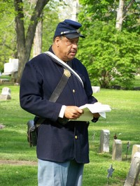 Oak Grove Cemetery Wreath Laying and Memorial Service - Presentation by Private Mel Reid, Company B, 54th Massachusetts Volunteer Infantry, a resident of Washington, DC and a native of Delaware, Ohio