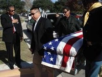 Great great grandson Michael Aguirre, Jr, other family members, Lieutenant Earley Teal and First Sergeant Howard Ray, Bexar County Buffalo Soldiers served as pallbearers. Background: Fort Sam Houston Honor Guard