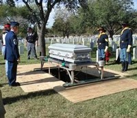 FINAL RESTING PLACE - Left: Chief Master Sergeant Dwayne Hopkins and Steve Zavala. Right: First Sergeant Howard Ray and Lieutenant Earley Teal