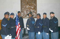 Seven members of the 13th USCT in the lobby of the Tennessee State Capitol.