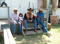 George Taylor and grand daughter, Tony Dorty and Linus Hinton. Preping for the Cowtown Keeylocko round up, day 1.