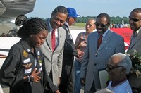 Kimberly Anyadike's emotional meeting with Tuskegee Airman Lieutenant Colonel Herbert Carter (Wheelchair) at Moton Field, Tuskegee, Alabama July 2, 2009