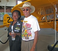 Kimberly Anyadike and Jerry McRae at the Tuskegee Airmen Museum, Moton Field, Tuskegee, Alabama  July 2, 2009