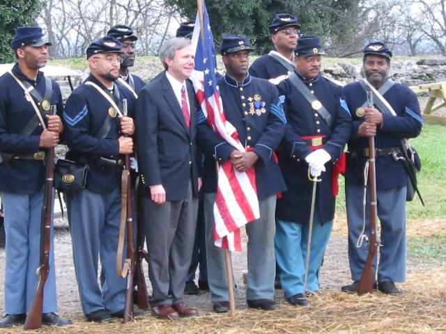 Members of the 13th USCT and the Mayor of Nashville, Tennessee