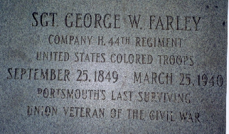 Sgt. George W. Farley's grave marker. Sgt. Farley was Portsmouth's last surviving Union veteran of the Civil War