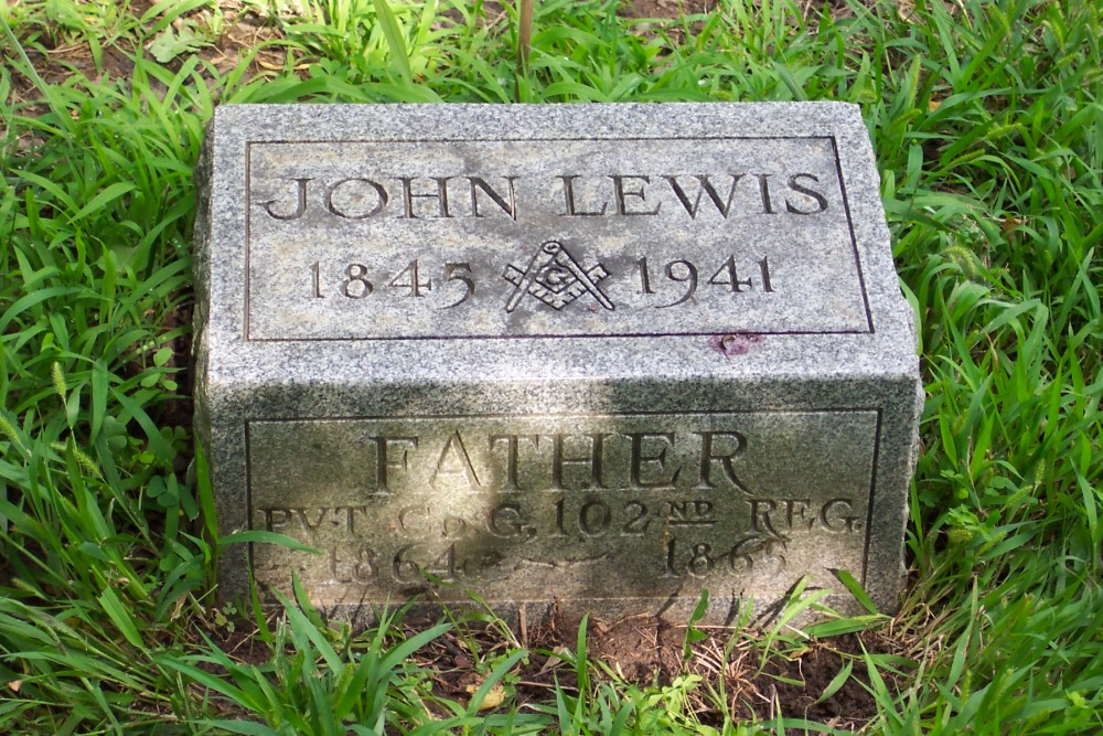 John Lewis' Grave Marker (click to enlarge)