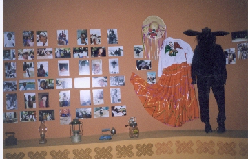 Inside the museum: Dresses of typical dances in the Costa Chica region and pictures of the people.