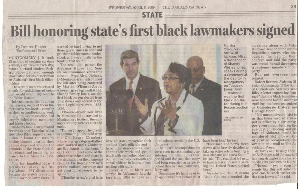 Bill honoring state's first black lawmakers signed - The Tuscaloosa News Wednesday, April 8, 2009
