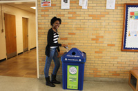 Recycling bins were placed outside campus buildings