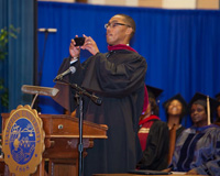 Brett Pulley Instagrams the audience at HU Opening Convocation.