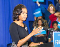 Michelle Obama addresses the crowd at HU