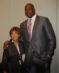Dr. Linda Kirkland-Harris with Dr. Shaquille O'Neal.