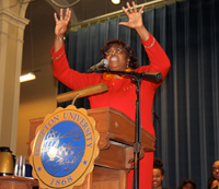 Dr. Suzan Johnson Cook speaks in Ogden Hall at the Martin Luther King, Jr. program.