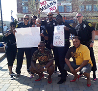 Members of the HU Police Department and Iota Phi Theta fraternity participated in the event.
