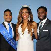 Mr. Pirate 2014-2015 John Collier, Miss Hampton 2014-2015 Joye Parker and SGA President Lawrence Rigby.
