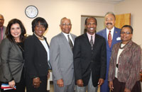 Dr. Almarie E. Munley, University College Dean, Dr. Pamela V. Hammond, HU Provost General Arnold Wallace (RET), Mr. Donnie Tuck, Hampton City Council Member and Dr. Saundra Cherry- Newport News City Council Member at the HUUC ribbon cutting.
