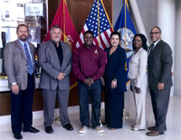 Left to Right: Hampton University School of Engineering Dean Eric J. Sheppard, Norris Williams, president of the VAAA, HUUC Student Gary Garner, HUUC Dean Dean Almarie E. Munley, HUUC Academic Coordinator Tunisha George-Twine, and HUUC 