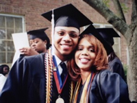 Toombs receiving his graduate degree from Hampton while his sister graduates with BA.
