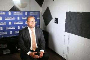 Hampton University student Michael Howard poses in the new HU ReadyCam Studio.