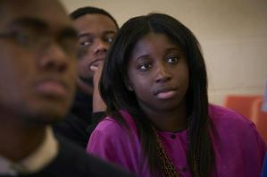 Hampton University students listen to the professor in a political science class.  