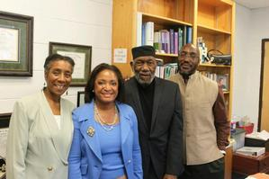 HU SON Dean Deborah Jones stands with the Spratlen Family, Patricia Spratlen-Etem, Dr. Thaddeus H. Spratlen and Dr. Townsend Price-Spratlen