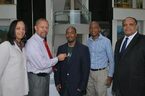 From left to right: Dr. Trina Coleman, Assistant Provost for Technology; Dr. Eric J. Sheppard, Dean of the School of Engineering and Technology and HU Pathways co-Leader; Mr. Howard Brown, Computer Science student and University Innovation Fellow; Dr. Otsebele Nare, Associate Professor, Engineering and HU Pathways Co-Leader; Dr. Calvin Lowe, Dean of the School of Science