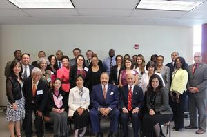 HU President Dr. William R. Harvey and members of the Hispanic/Latino Initiative