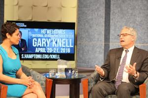 (From left) Prof.April Woodard interviews National Geographic CEO Gary Knell in the SCRIPPS TV Studio.