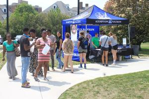 HU students take a study break on Reading Day to enjoy music and HU themed doughnuts by 'Glazed Doughnut' in Hampton.