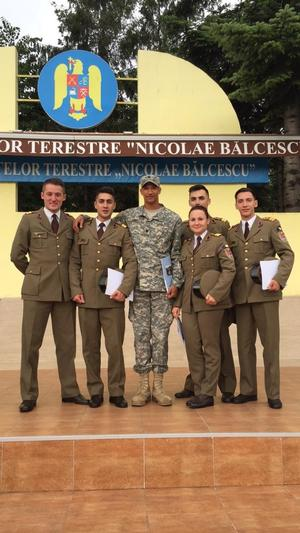 CDT Donmanique Hardy with the Nicolae Bălcescu Land Forces Academy Cadets after the closing ceremony.
