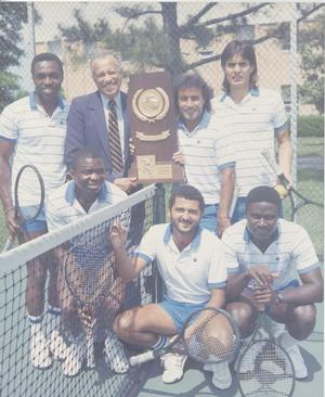 Dr. Screen pictured with the 1989 NCAA D-II Champion Tennis Team. Dr. Screen 1953 Hamptonian Yearbook picture. Photo courtesy of Hampton University Archives.