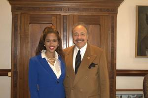 Ivana Thomas poses with HU President Dr. William R. Harvey
