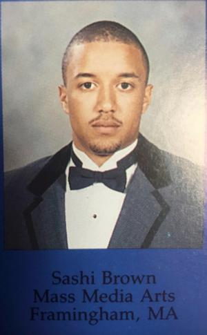 HU alumnus Sashi Brown's senior graduation yearbook photo, Class of 1998.