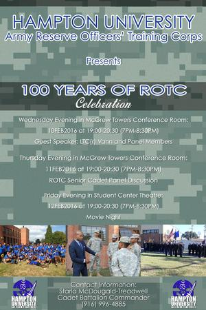 ROTC 100th Anniversary Schedule of Events.
