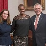 Krystel Jordan poses with Gov. McAuliffe and his wife, First Lady, Dorothy McAuliffe