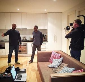 Duwayno Robertson in his new apartment with the film crew for