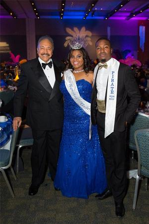 Dr. William R. Harvey, Hampton University President with Nyia Fairley, Miss Hampton University 2016-17and Mr. Pirate Cameron Abney