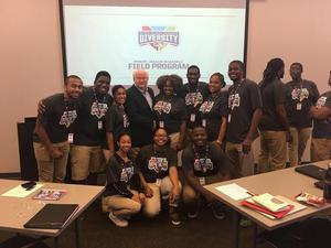 Recent Hampton sport management alumni along with current undergraduate sport management students with Minor League Baseball President Pat O'Connor