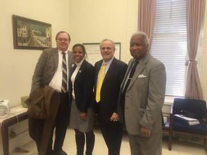 HREDA visit with HU administrators (from left to right) HREDA Chairman John Padgett, HU Vice President for Research and Associate Provost Dr. Michelle Penn-Marshall, HREDA President Rick Weddle and HU Associate Vice President of Governmental Relations, Bill Thomas