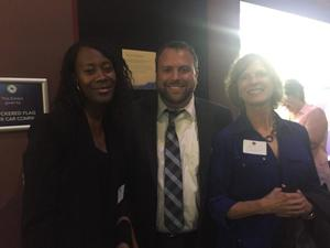 Dr. Isi Ero-Tolliver (left) pictured here with a represenative from winning business Adartis Animal Health (center) and Nancy Grden, Director, Strome Entrepreneurial Center at Old Domion University (right)