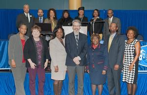 HU Chancellor and Provost Dr. JoAnn W. Haysbert (top row, 3rd from right), and Assistant Provost Dr. Pollie Murphy (bottom row, 3rd from right) pictured with 2017 Academic Excellence Faculty Award Winners and their respective deans.