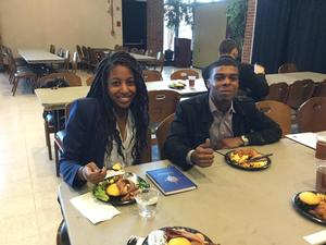 Hampton University students Darrius Summers '18 and Dominique Daly '18 enjoy a break at the NCEA.