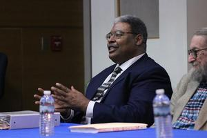 Bruce Turner, descendant of Nat Turner, speaks at Hampton University
